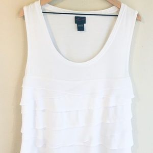 Torrid White Flowy Tiered Fabric Tank Top